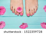 Hot Pink Pedicure. Top View Of...