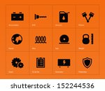 tools icons on orange...