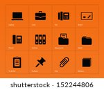 office icons on orange...
