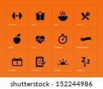 fitness icons on orange... | Shutterstock . vector #152244986