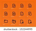 set of files icons on orange...