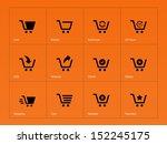 shopping cart icons on orange...