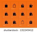 shopping bag icons on orange...
