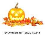 halloween jack o lantern on red ... | Shutterstock . vector #152246345