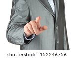 Businessman with indicating hand on white background   - stock photo