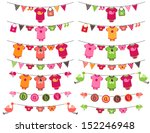 Stock vector vector collection of girl themed baby shower bunting 152246948