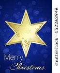 a golden star with snowflakes... | Shutterstock . vector #152263946