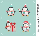 set of cute penguins. vector... | Shutterstock .eps vector #152271038