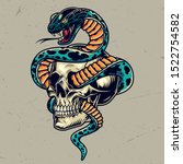Snake Entwined With Skull...