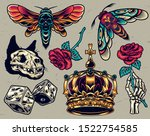 vintage colorful tattoos... | Shutterstock .eps vector #1522754585