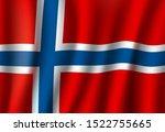 norway flag  3d realistic wavy... | Shutterstock .eps vector #1522755665