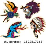 old school tattoo scketches.... | Shutterstock .eps vector #1522817168
