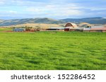 rustic red barn on a dairy farm ... | Shutterstock . vector #152286452