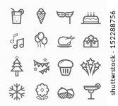 party symbol line icon on white ...