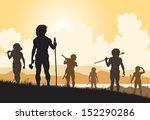 illustrated silhouettes of... | Shutterstock . vector #152290286