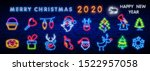 christmas neon icon set. merry... | Shutterstock .eps vector #1522957058