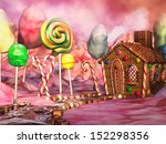 fantasy candy land with... | Shutterstock . vector #152298356