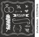 chalkboard wedding graphic set  ... | Shutterstock .eps vector #152299646