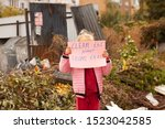 Stock photo little girl protests against nature pollution 1523042585