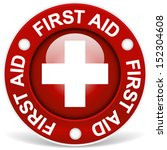 "stylish red ""first aid"" badge 