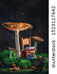 Small photo of Tiny chair with plaid and a stack of books under a gigantic mushroom with moss and raindrops. Magical forest scene with copy space.
