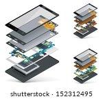 vector isometric smartphone... | Shutterstock .eps vector #152312495