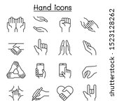 hand icon set in thin line style | Shutterstock .eps vector #1523128262