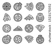 pizza icons set. outline set of ... | Shutterstock .eps vector #1523170352