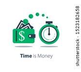 cash back  wallet with dollar... | Shutterstock .eps vector #1523182658