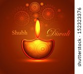 beautiful happy diwali shiny... | Shutterstock .eps vector #152323376