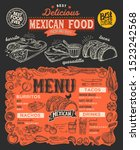 mexican menu template for... | Shutterstock .eps vector #1523242568