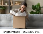 Small photo of Smiling satisfied young woman customer sit on sofa unpack package open parcel, happy girl consumer holding cardboard box receive good online shop purchase at home, post mail shipping delivery concept