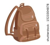 classic brown camping bag vector | Shutterstock .eps vector #1523304878