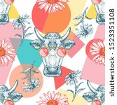 Seamless Pattern With Cows ...