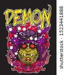 samurai demon mark.slogan t... | Shutterstock .eps vector #1523441888