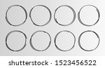 hand drawn circles sketch frame ... | Shutterstock .eps vector #1523456522