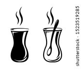 turkish tea icon. glass of hot...   Shutterstock .eps vector #1523519285