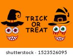 funny faces of monsters ... | Shutterstock . vector #1523526095