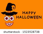 funny face of witch monster... | Shutterstock . vector #1523528738