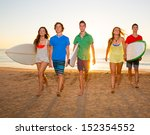 surfers teen boys and girls... | Shutterstock . vector #152354552
