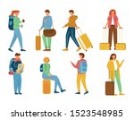 travellers flat vector... | Shutterstock .eps vector #1523548985