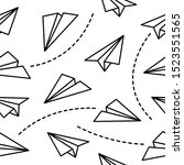 paper planes origami seamless... | Shutterstock .eps vector #1523551565