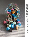 mixed licorice pieces  falling... | Shutterstock . vector #152358902