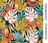 summer seamless tropical... | Shutterstock .eps vector #1523589962
