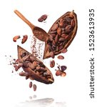 Small photo of Cocoa pod flying in the air. Cracked cocoa pod and beans and wooden spoon with cocoa powder levitate on white background. High resolution image. Levitation concept.