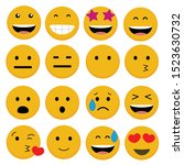 set twelve emojis pack yellow... | Shutterstock .eps vector #1523630732