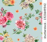 watercolor vintage floral... | Shutterstock . vector #1523649542