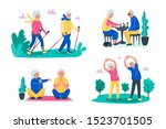 senior activities concept. old... | Shutterstock .eps vector #1523701505