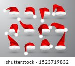 red santa claus hat isolated on ... | Shutterstock .eps vector #1523719832