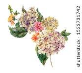 watercolor vintage floral... | Shutterstock . vector #1523731742